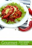 Chili Corn Carne - traditional mexican food, on white plate, isolated on white