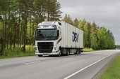 White Volvo FH Trailer Truck On The Road