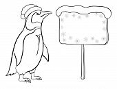 Penguin with Christmas poster, outline
