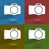Color set Photo camera. Flat modern web button with long shadow and space for your text