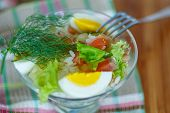 Salad With Salmon And Rice With Vegetables