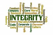 stock photo of morals  - Integrity word cloud on white background - JPG