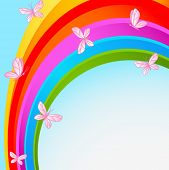 Flying butterflies against the backdrop of the cloudless sky with rainbow