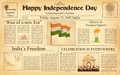 illustration of vintage newspaper for Happy Independence Day of India