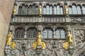 Basilica Of The Holy Blood, Windows And Gilt Statues, Bruges.