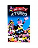 Hayward, CA - January 5, 2015: 800g  (28.2 oz) Travel Packet of Bassett's Liquorice Allsorts candy