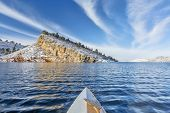 picture of horsetooth reservoir  - canoe paddling on Horsetooth Reservoir near Fort Collins in northern Colorado - JPG