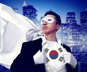 Superhero Businessman South Korea Cityscape Concept