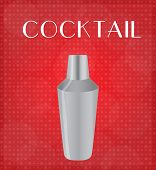 Drinks List Cocktail Shaker With Red Background