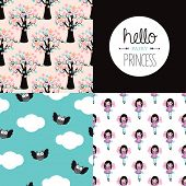 Hello fairy princess illustration background set wall decor with owls and trees background pattern set and text design in vector