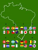 Brazil Football Cup Groups Map Circles With Coat Of Arms