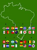 Brazil Football Cup Groups Map With Coat Of Arms