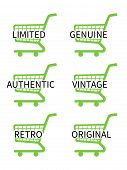 Green Shopping Cart Icons With Vintage Texts