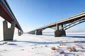Metro bridge and Communal bridge across Ob river in Novosibirsk, Russia