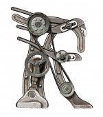 Mechanical metal alphabet letter R