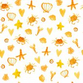 Summer background with beach crabs, hearts and star fish. Sunny seamless vector texture.