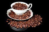 image of coffee coffee plant  - Still life of coffee coffee cup with coffee beans - JPG