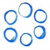 Set of blue acrylic round circles