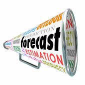 Forecast word on a megaphone or bullhorn with related terms like estimation, prediction, projection, guess and prognosis