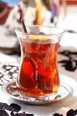 Turkish tea in traditional glass cup