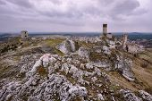 rocks and ruined medieval castle