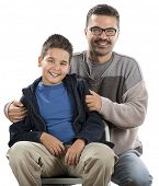 pic of pre-adolescent child  - Happy Child and his Father - JPG