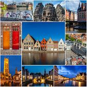 picture of storyboard  - Mosaic collage storyboard of Belgium tourist views travel images - JPG