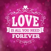 Love Forever Greeting Card With Hearts And Lights On Background