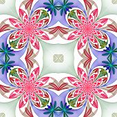 Fabulous Symmetrical Pattern Of The Petals. Pink, Blue And Green Palette. Computer Generated Graphic