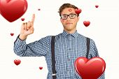 Geeky hipster covered in kisses against hearts