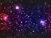 Star background, colored in violet shades with abstract blurry lights.