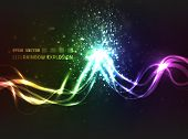 EPS10 vector abstract rainbow explosion design against dark background; bright lines explode upon colliding