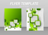 stock photo of pamphlet  - Abstract flyer template design with green squares - JPG