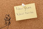 New year sticker with text new house