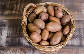 potatoes in a basket on a gray wooden background