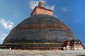 The world's largest brick stupa Jethawanaramaya Dagoba in Anuradhapura, Sri Lanka