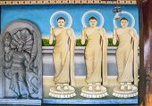 Anuradhapura - circa December 2014:image of 3 Buddha incarnations in Sri Lanka circa December 2014