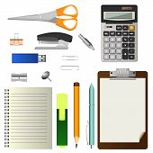 Set Of Office Stationery Tools