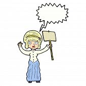cartoon victorian woman protesting with speech bubble