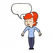 cartoon friendly woman shrugging shoulders with speech bubble