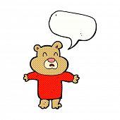 cartoon unhappy bear  with speech bubble