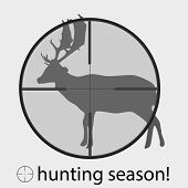 Hunting Season With Deer In Gunsight Eps10