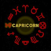 pic of capricorn  - 3d zodiac signs with CAPRICORN highlighted  - JPG