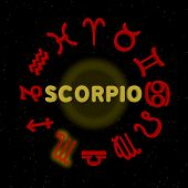 pic of scorpio  - 3d zodiac signs with SCORPIO highlighted  - JPG