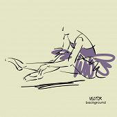 art sketch of sitting on floor and tying up pointe shoes beautiful young ballerina in tutu