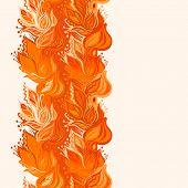Orange leaves seamless pattern