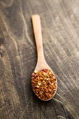 Ground Cayenne Pepper In Wooden Spoon