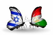 Two Butterflies With Flags On Wings As Symbol Of Relations Israel And  Tajikistan