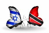 Two Butterflies With Flags On Wings As Symbol Of Relations Israel And  Trinidad And Tobago