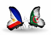 Two Butterflies With Flags On Wings As Symbol Of Relations Philippines And Algeria